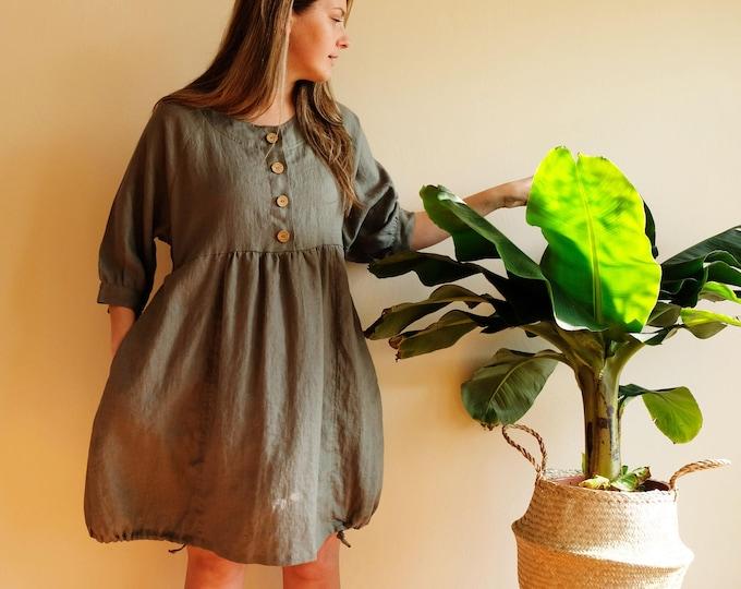 Linen Tunic Dress, Linen Dress, Loose Tunic Dress, Tunic for women, Plus size tunic, Plus size dress, linen tunics for women, Breastfeeding