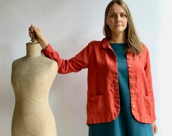 Linen Jacket 'Georgia - Long' Linen Jacket Women, Linen Coverup, Linen Blazer, Womens Linen Jacket, Womens Jacket Plus size Jacket Linen Top