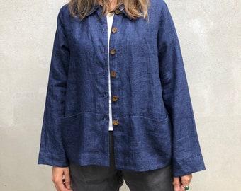 Linen Jacket Women 'Kim' Linen cardigan, Linen Coverup, Linen Blazer, Womens Linen Jacket, Womens Jacket, Plus size Cardigan