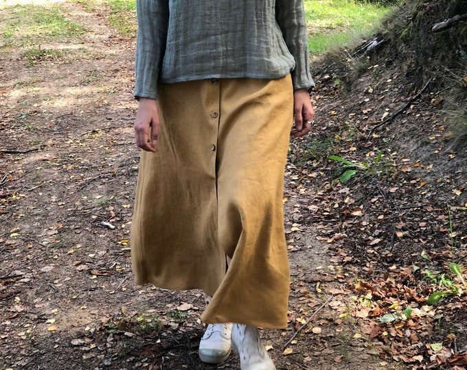 Long Linen Skirt with Buttons, Boho Skirt, Maxi Skirt, Long Skirt, Maxi Skirt Boho, Skirt with Pockets, Womens Skirts, Linen skirt