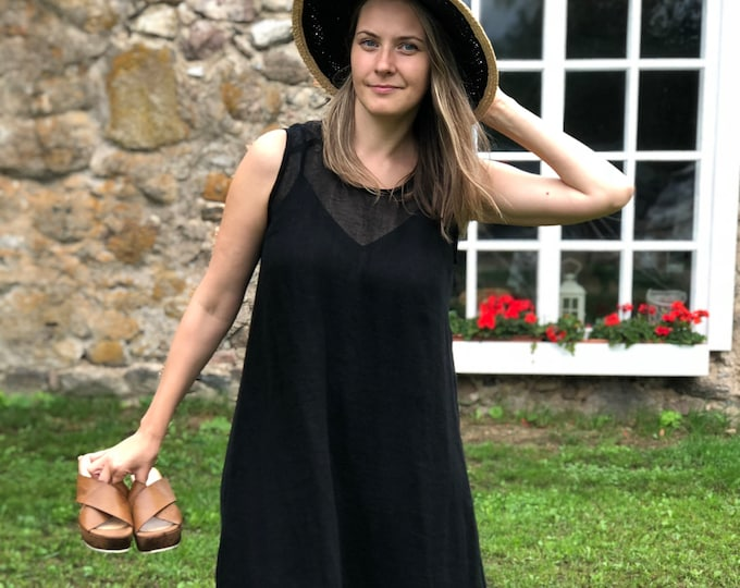 "Black Gauze Linen Dress ""Kate"""