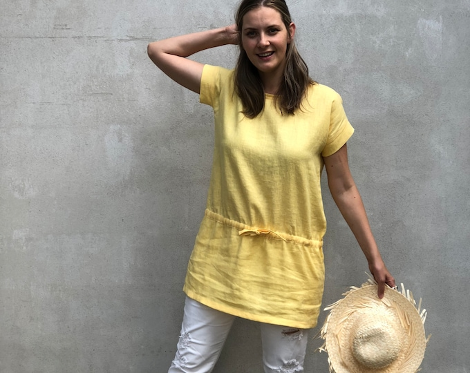 Long Linen Tunic Top 'Amelia', Yellow Summer Tunic, Beach Tunic Linen Shirt, Tunic for women, Plus size linen tunics for women Long Shirt