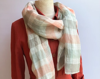 Gauzy Checkered Linen Scarf, Feminine Linen Scarf, Gauze Scarf for Her, Pure Linen Scarf, Women's Scarf, Gift for Mom, Womens Gift for Women
