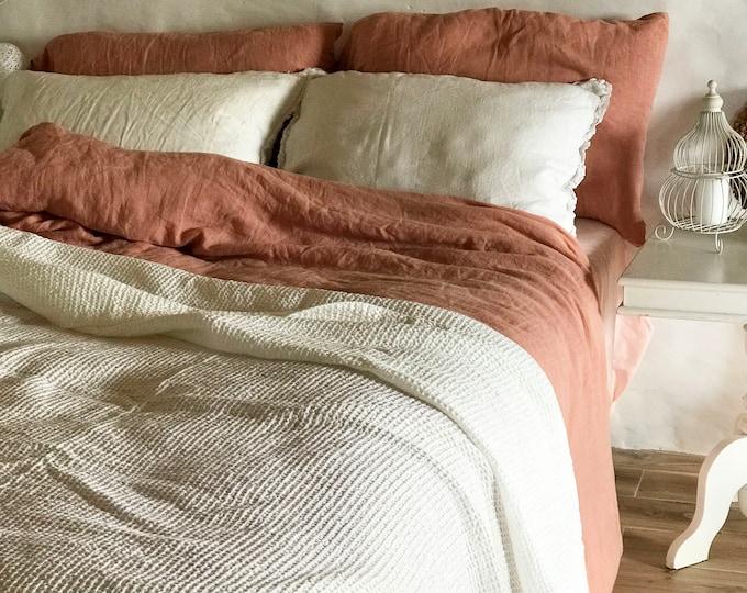 White Blanket, Linen and Cotton blend blanket, Voluminous Linen throw, Natural Blanket, Linen coverlet, Daybed blanket, Christmas gift