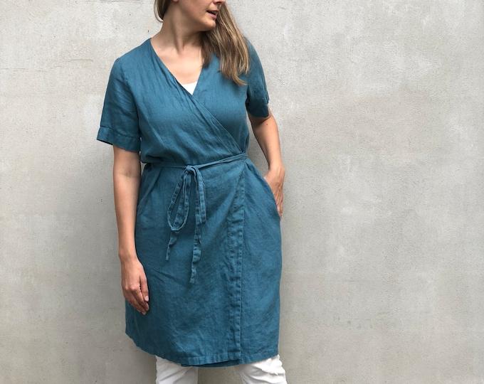 "Linen Dress ""Pamela"", Wrap Dress Linen, Linen Dress for Women, Linen Womens Dress, Simple Linen Dress, Plus size Women, Plus size dress"