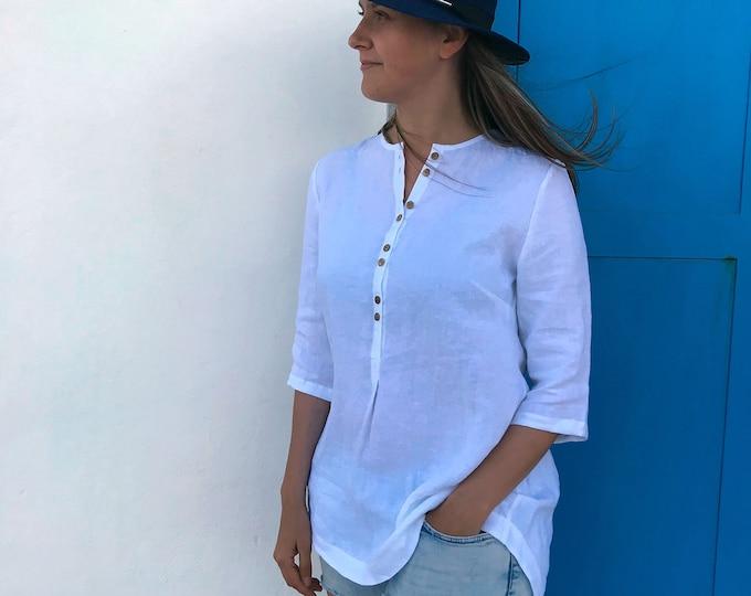 Loose Womens Shirt with Buttons, Linen Shirt, Plus size shirt, Tunic Shirt, Summer shirt, light shirt, boho shirt, Linen Top White Light Top