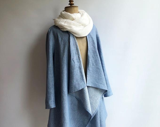 Linen Kimono Jacket, Loose Linen Drape Jacket, Blue Cardigan Linen Coverup, Linen Jacket Womens, Loose Jacket Plus size Plus size clothing