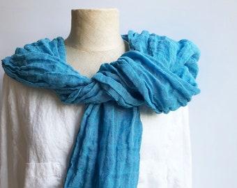 Bright Blue Gauze Linen Scarf, Blue Linen Scarf, Gauze Scarf for Her, Pure Linen Scarf, Women's Scarf, Gift for Mom, Womens Gift for Women