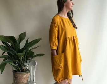 Ready To Ship: Size M-XXL Linen Dress in Mustard Summer Dress, Womens Dress, Plus Size Tunic Dress, Loose Dress, Linen Dress Plus size Linen