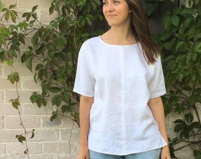 White Linen Shirt, Linen T-Shirt, Linen Top, Shirt with Sleeves, Linen Tee, Plus size shirt, Linen Blouse, Loose Linen Shirt, Plus size top
