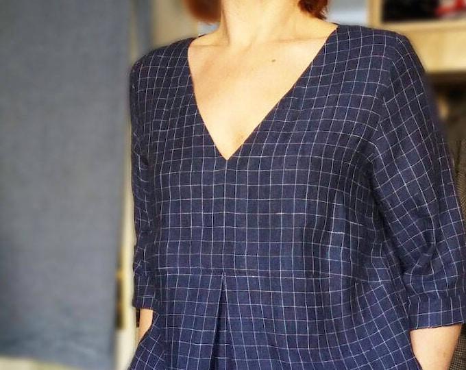 Checkered Linen Tunic, Dark Navy Blue Tunic Plus size tunic, Linen Dress for Women, Linen Tunic Dress, Womens tunic, Plus size clothing