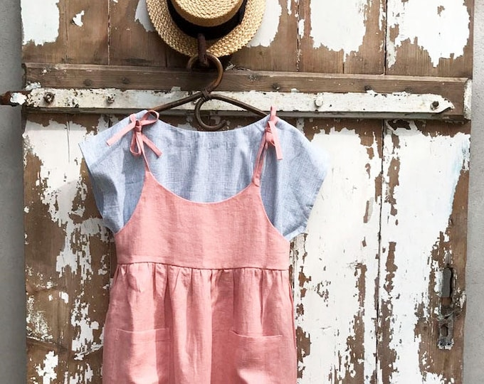 Ready to Ship: Soft Pink Linen Sundress Size S/M, Linen Strap Dress, Womens Sundress, Linen Jumper Dress, Linen Dress Women Jumper Pinafore