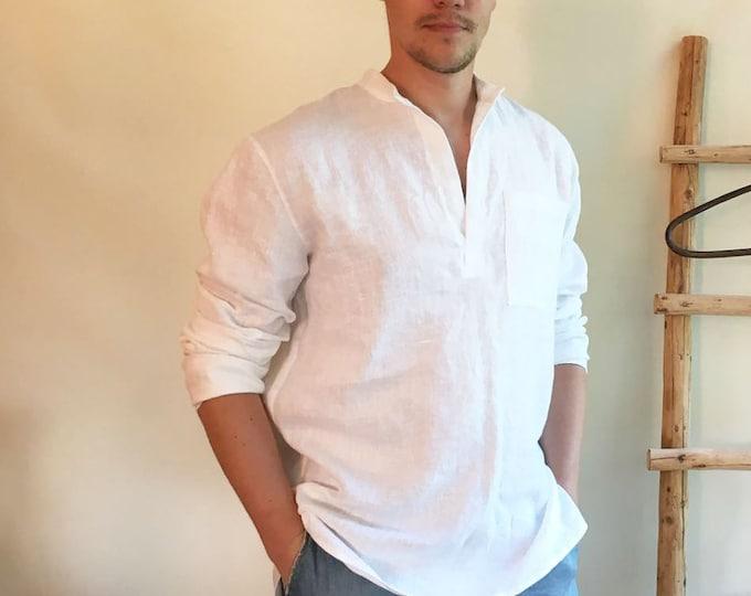 Linen Shirt Men, Mens Shirt, White Linen Shirt Dress, Long Sleeve Loose shirt, Mens clothing, Boho Beach Wedding Plus size shirt men gift