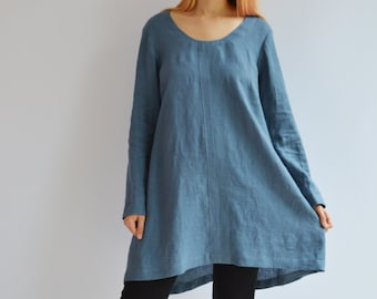 Blue Linen Tunic, Plus size tunic top, Linen Tunic for Women, Womens tunic, loose linen tunics, plus size clothing, tunic dress women linen