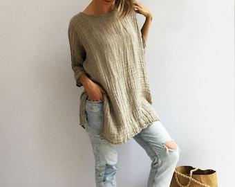 Rustic Linen Top, Taupe womens Top, Loose Top, Tunic top, Linen Shirt Women, Plus size top Plus size shirt Rustic Shirt Natural Gauzy Linen
