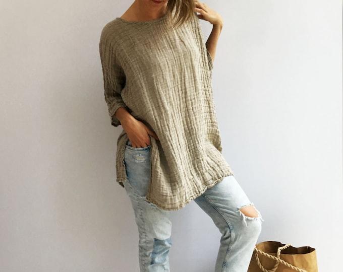 Rustic Linen Top, Taupe womens Top, Loose Top, Tunic top, Linen Shirt Women, Plus size top Plus size shirt Rustic Shirt Natural Eco friendly