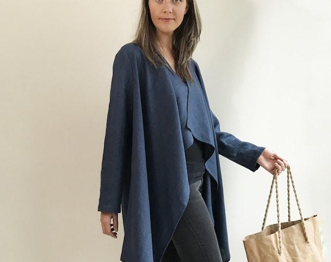 Loose Linen Cardigan, Linen Kimono Jacket, Dark Blue cardigan, Linen Coverup, Linen Jacket Womens, Loose Jacket Plus size Plus size clothing