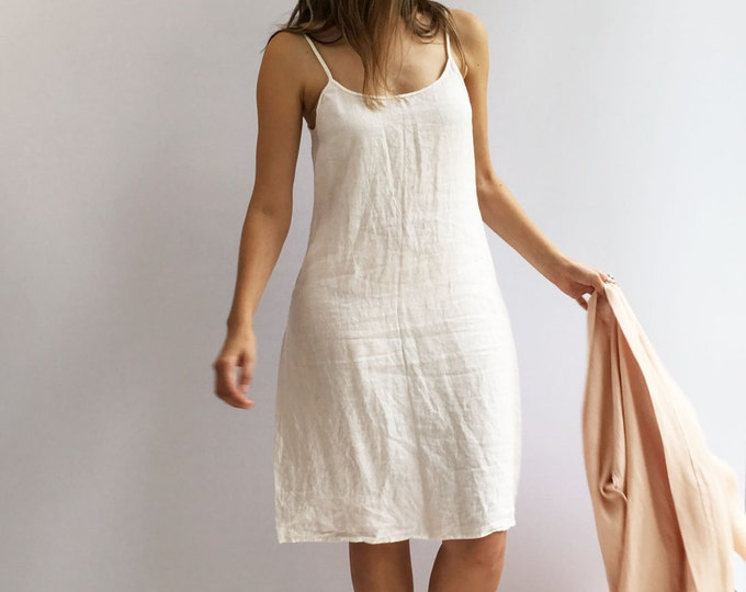 Slip Dress, Linen Slip Dress, Base Layer, Underdress, Night Dress, White nightgown, Underlayer dress, Sleeveless linen dress, gift