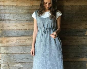 Pinafore Dress, Sleeveless Maxi Dress, Pinafore Maxi Dress, Linen Maxi Dress, Plus Size Sundress, Linen Dress Women, Loose Dress, Adjustable