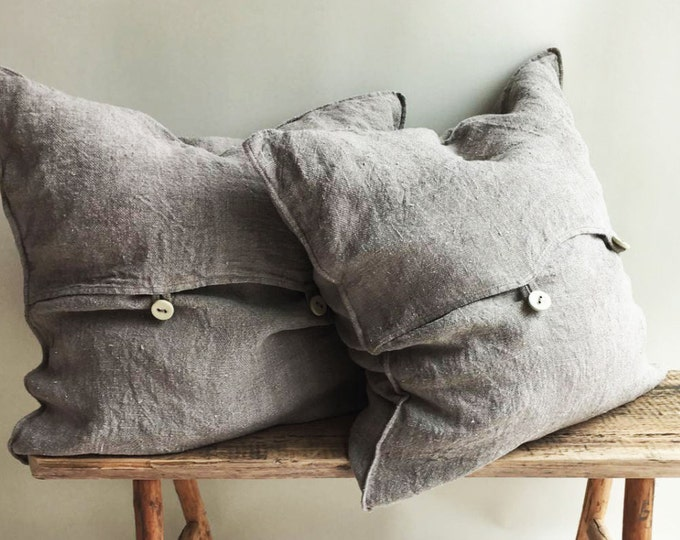 Rustic Throw Pillow Covers, Throw Pillow Covers, Rustic linen shams Natural linen sham covers Linen decorative Pillowcases Burlap Shams