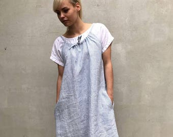 Simple Linen Dress with Drawstring Neckline