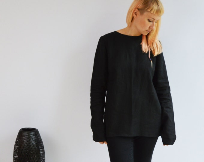 Linen Tunic Top with Long Sleeves, Linen Shirt with Sleeves, Plus size shirt, Black Blouse, Loose Linen Shirt, Plus size top, Black Tunic