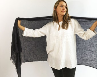 Dark Grey Oversized Scarf, Linen Shawl, Womens Shawl, Linen Wraps Shawl, Christmas, Extra long scarf, grey shawl, grey scarf, gift for her