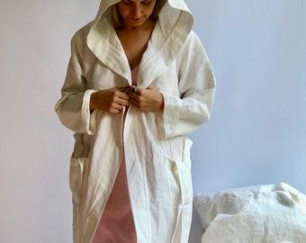 "White Linen robe ""Veronica"", Waffle Robe, Kimono robe, robe coverup, Hooded Robe, linen bath robe, morning dress, women robe"