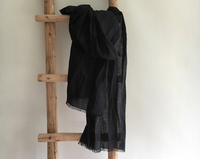 Black Scarf from Pure Linen, Black Linen Scarf, Wraps Shawl, Womens Scarf, Mens scarf, Gift for Her, Gift for him, scarf black, summer scarf