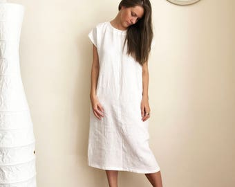 Long Linen Dress with Short Sleeves, Simple Linen Dress, Long Tunic Dress, Plus size Maxi Linen Dress, Long linen dress, Long Womens tunic