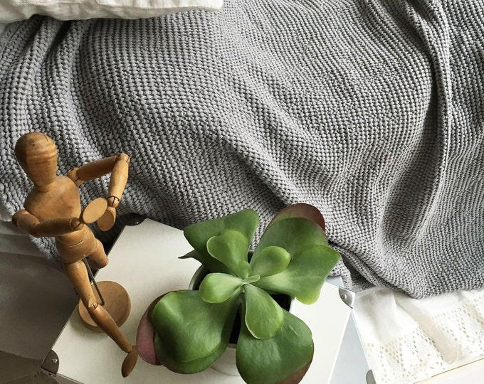 Thick Grey Blanket, Linen and Cotton blend blanket, Voluminous Linen throw, Natural Blanket, Linen coverlet, Daybed blanket, Christmas gift