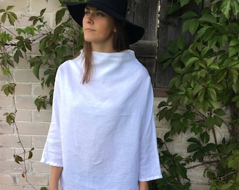 Linen Tunic with raised neck, Loose Linen Shirt, Linen blouse, Plus size top, top with 3/4 sleeves, long sleeved shirt, plus size clothing