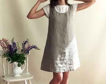 Linen Jumper Dress, Pinafore Dress, Linen Dress, Sleeveless Dress, Natural Dress, Summer Dress, Plus Size Sundress, Linen Dress Women Jumper