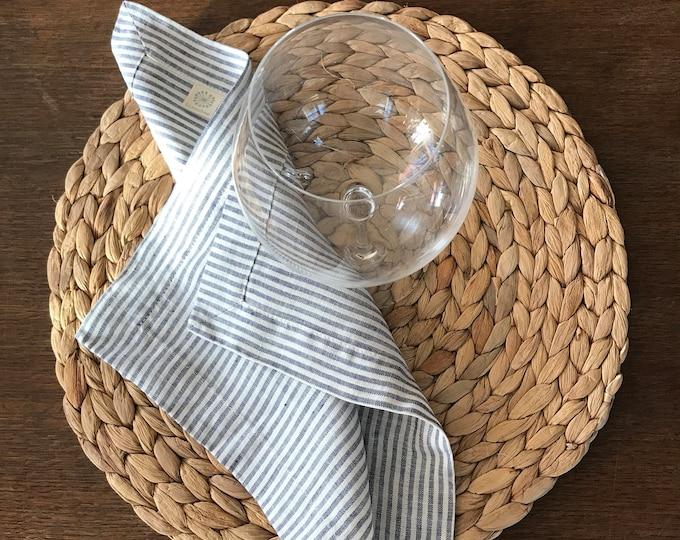 Striped Linen Napkins, Set of Six striped cloth napkins, linen napkins, cloth dining napkins, grey blue white napkins, eco friendly wedding
