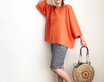 Knee Length Linen Shorts for Women