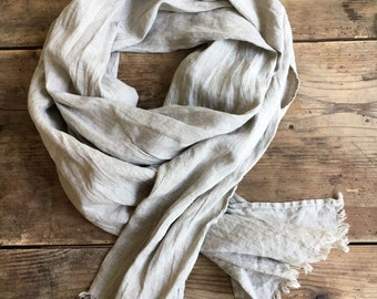 Natural Linen Scarf, Simple Scarf, Eco friendly Scarf, Scarf for Her, Simplicity, Pure Linen Scarf, Taupe Scarf, Light Scarf, Brown Scarf