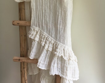 White Wrap Shawl With Ruffle, Linen Scarf With Ruffle, Wraps Shawl, Womens Shawl, Linen Shawl, Extra long linen scarf, Wedding cover, creamy