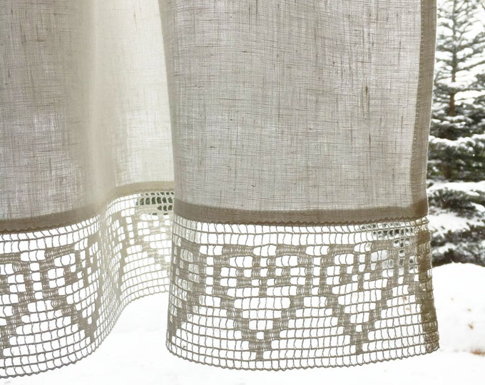 White Linen Curtain, Linen Valance, Linen Kitchen Curtain, Linen Bathroom Curtain, White curtain with lace, White linen curtains kitchen