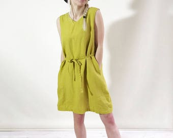 Sleeveless Linen Dress with V neckline