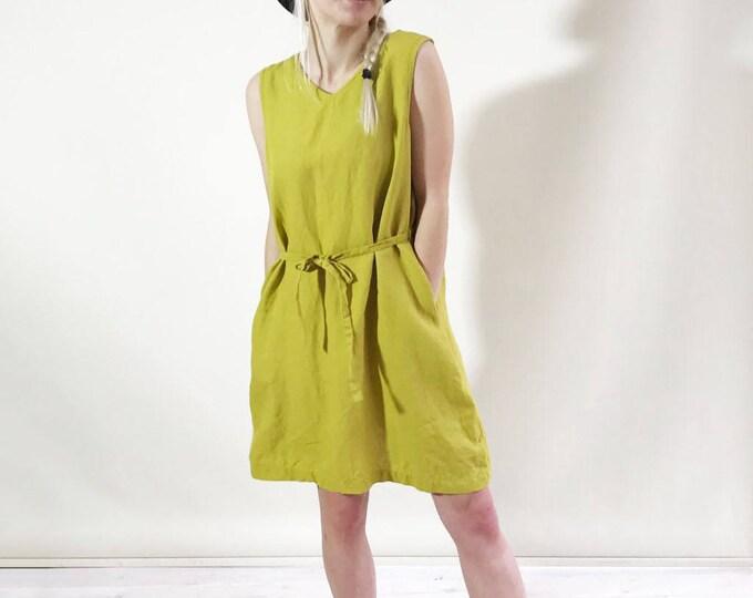 Sleeveless Linen Dress with V neckline