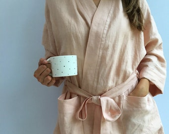 Linen robe, soft kimono robe, robe coverup, robe for bride, linen bath robe, linen night gown, morning dress, linen sleep wear, women robe