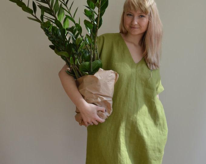 Linen Tunic Dress, Green Tunic, womens tunic, plus size tunic, linen tunics for women, linen dress with sleeves, natural linen dress, loose