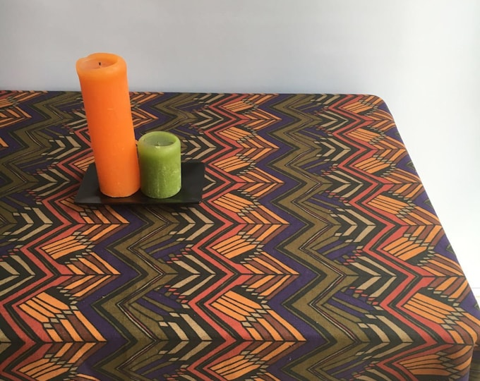 Vintage Inspired Tablecloth, Retro Linen Table Cloth, Autumn Tablecloth 1960s Geometric Scandinavian Tablecloth Rectangle Tablecloth Square
