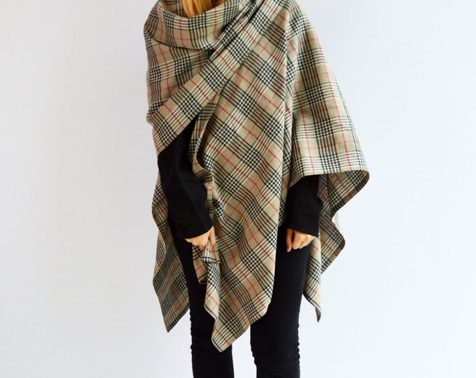 Ruana Wrap from Linen, Plaid Cape, Wrap Poncho, Classic Ruana Shawl, Tartan Wrap Shawl, Brown Wrap, Wrap Cape, Womens Poncho, Plaid Cape