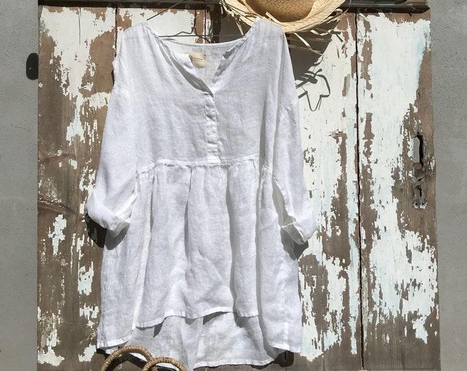 Oversized Crop Top, Oversized Shirt, White Linen Shirt, Plus Size Top, Linen Blouse, Womens Shirt, Loose Plus Size, Cropped Shirt, Boho