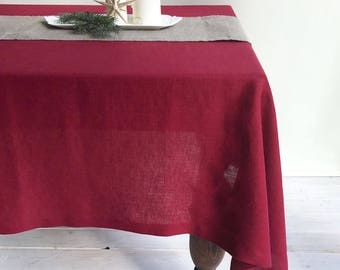 Maroon Red Linen Table Cloth, Christmas Linen Tablecloth Rectangle, Tablecloth Square, Tablecloth linen, Custom Tablecloth, Red Tablecloth