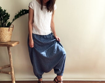 Ready to Ship: Blue Linen Harem Pants Size XS, Linen Yoga pants, Linen trousers, Baggy Pants, Women Pants, Trousers for Women, aladdin pants