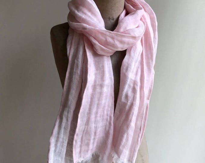 Pink Linen Scarf, Light Scarf, Soft Pink Scarf Linen, Eco friendly Scarf, Scarf for Her, Boho Scarf, Pure Linen Scarf, Wrinkled Scarf Pink