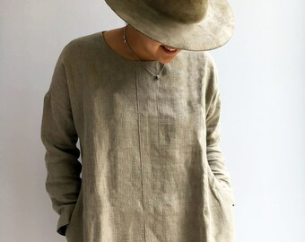 Natural linen tunic, Tunic Top, Plus Size Tunic, Linen Tunic Dress, Womens tunic, loose linen tunics for women plus size clothing tunic tops
