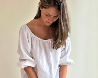 White Linen Top Boho, Off the shoulder Top, Boho Linen Blouse, Linen Top Boho, Off the Shoulder ruffled top, White Linen Blouse, boho ethnic